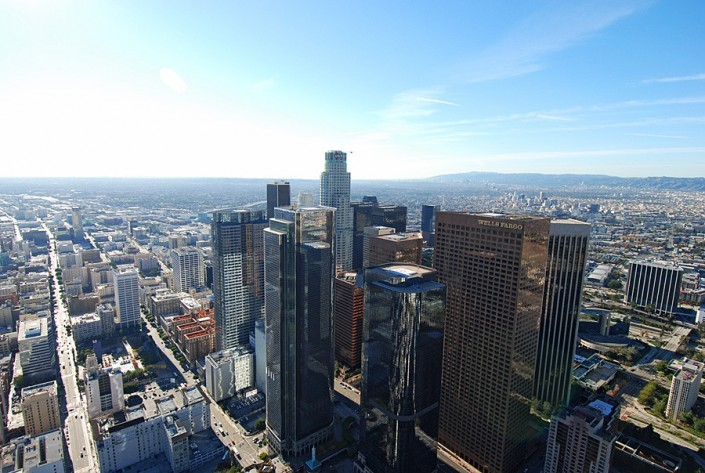 Aerial view of downtown la wells fargo building