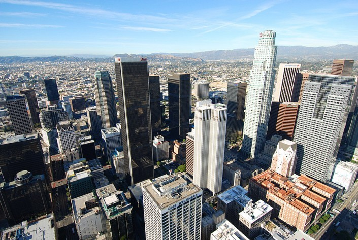 downtown la from helicopter looking northwest