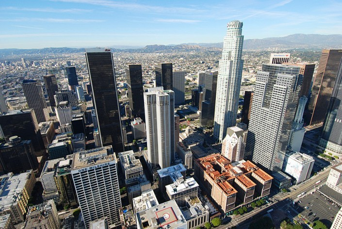 downtown los angeles helicopter ride skyline pershing