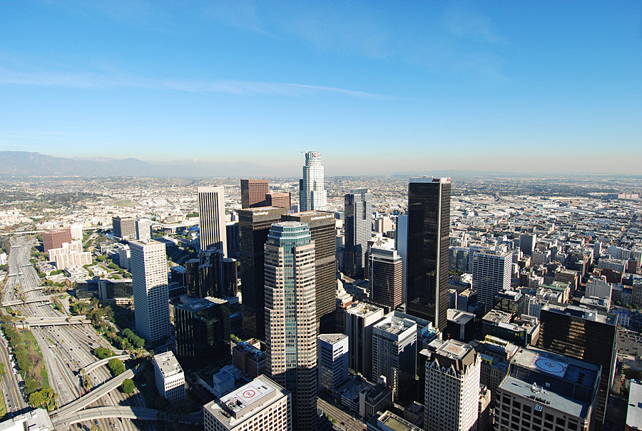 Downtown Los Angeles helicopter tour flight
