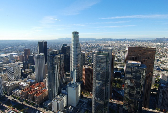 aerial helicopter view of us bank tower downtown los angeles