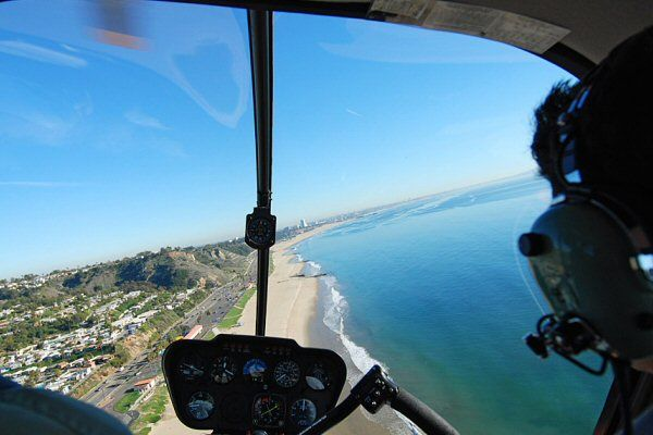 helicopter ride from malibu to santa monica low level