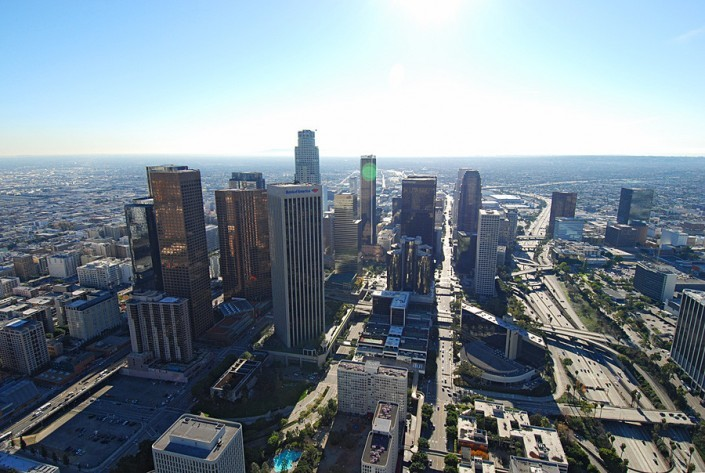 aerial view of downtown LA looking to the South