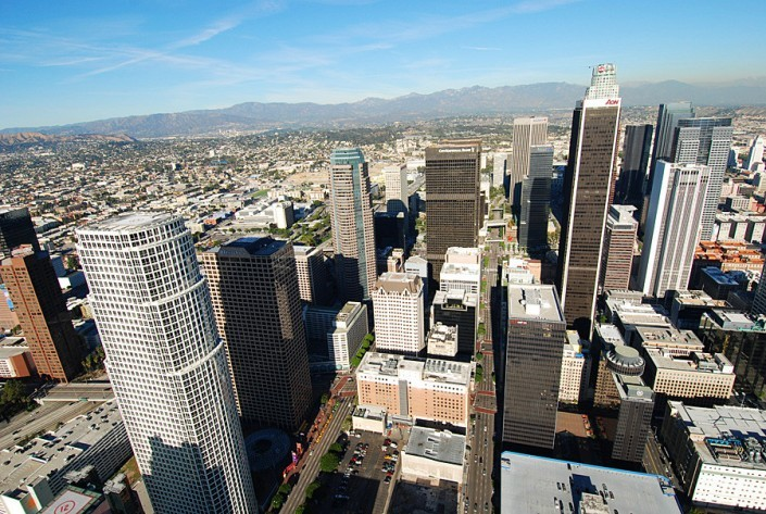 top of downtown los angeles from helicopter